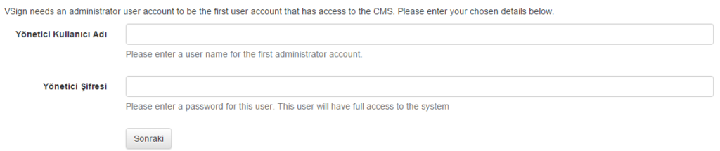 Figure 11: Install CMS – Creating Administrator Account